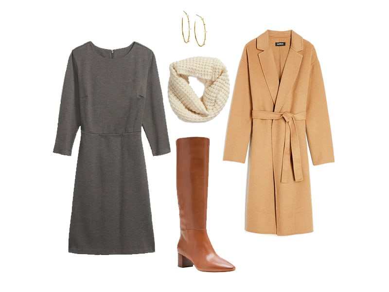 Gray Dress with camel coat, ivory scarf, tan knee high boots, and gold hoops