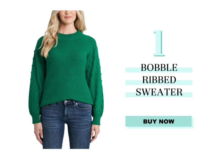 Green Bobble Ribbed Sweater