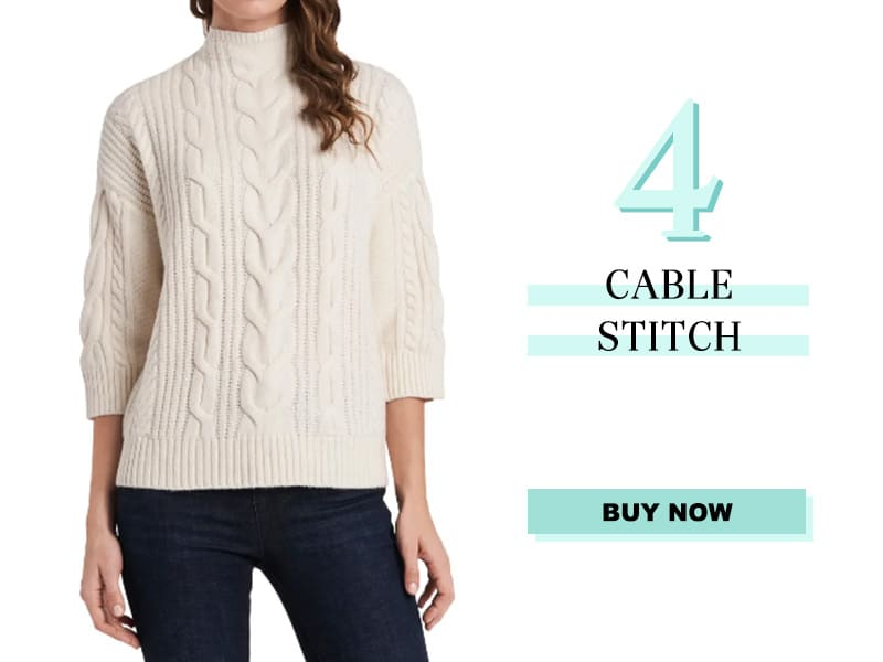 Vince Camuto Cable Stitch Sweater in Ivory