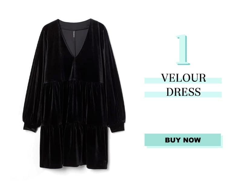 H&M Black Velour Dress