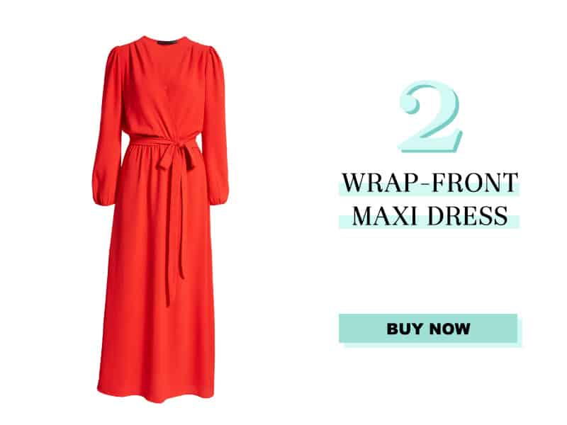 red Wrap Front Maxi Dress