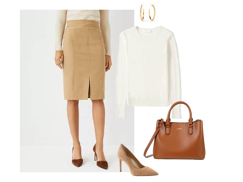 How to Wear A Tan Skirt to Work