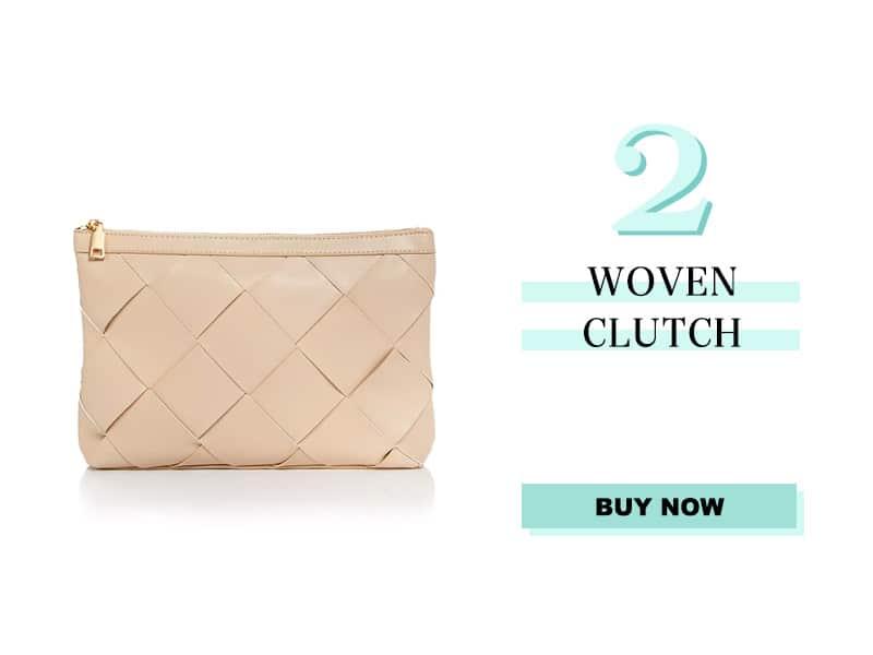 woven clutch in bone color