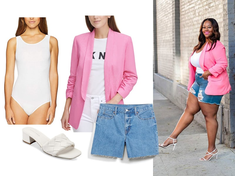 Pinterest Inspiration outfit with pink blazer, denim shorts, white bodysuit, and white slide sandals