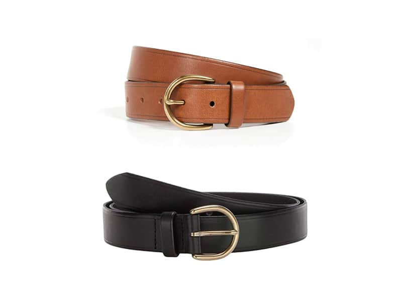 Madewell Medium Perfect Leather Belt in Brown and Black
