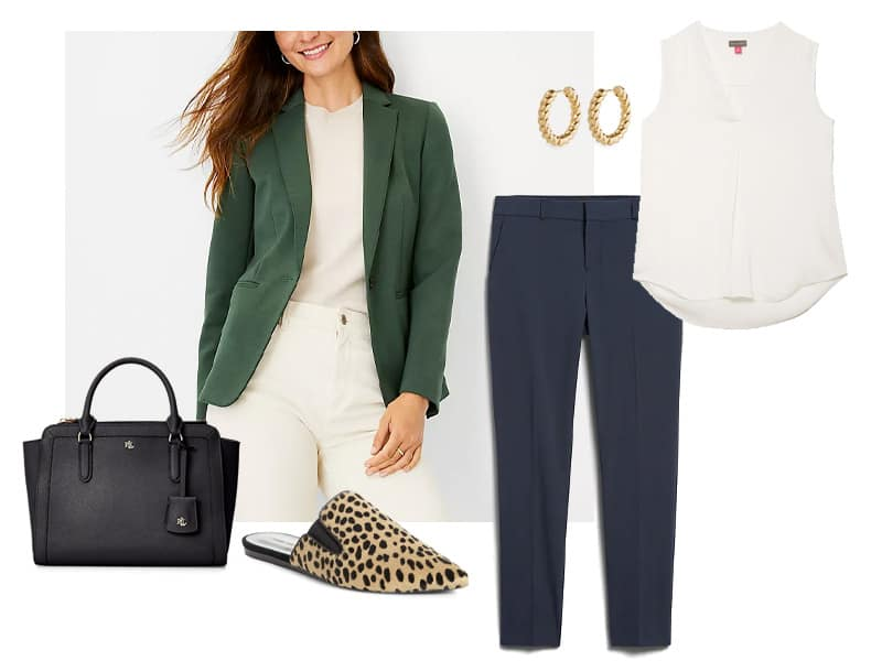 green knot blazer, navy straight fit pants, gold hoops, black leather satchel, ivory shell, and calf hair mules
