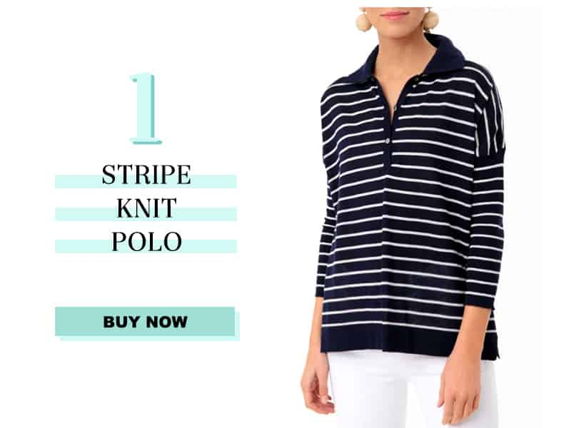 Navy Striped Polo Sweater