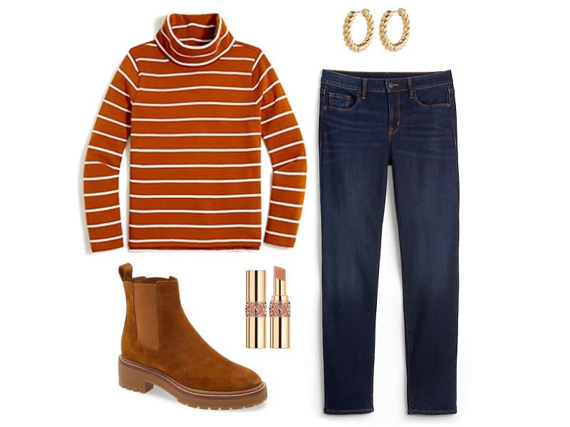 Mockneck sweatshirt in adobe, power straight dark jeans, tan lug booties, gold rope hoop earrings, and nude lipstick